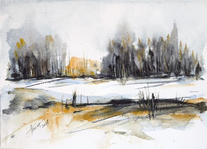 Snow on the Forest Glade watercolor painting