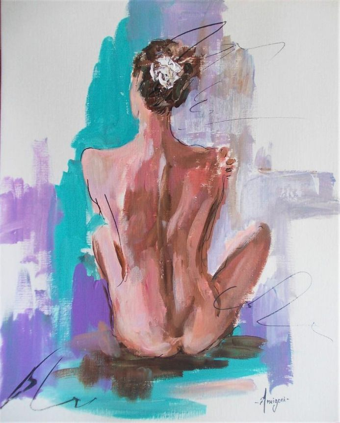 Helectra II - Woman painting on paper