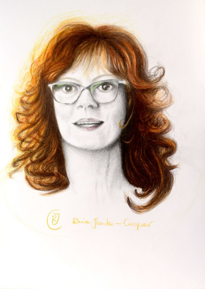 Red Hair - Female Wearing Glasses, Smiling Woman in a Portrait, a Sketch
