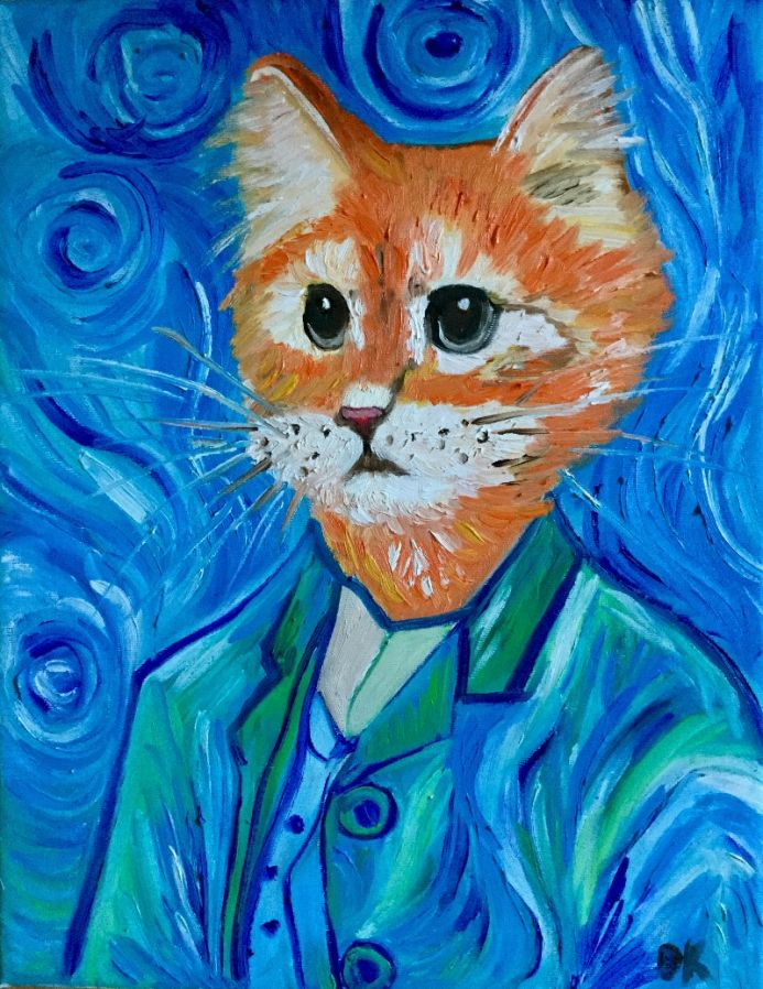 CAT LA VINCENT VAN GOGH ISPIRED BY FAMOUS SELF-PORTRAIT PRESENT IDEA FOR CAT LOVERS