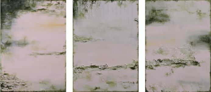 Sunlight On The Garden Triptych XL 150 x 70cm Textured Abstract Paintings