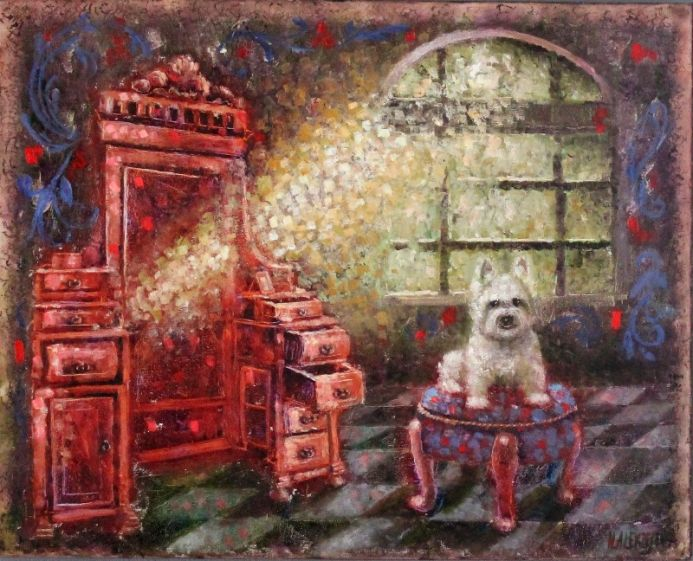 ''Dresser with mirror, a ray of light and a dog''