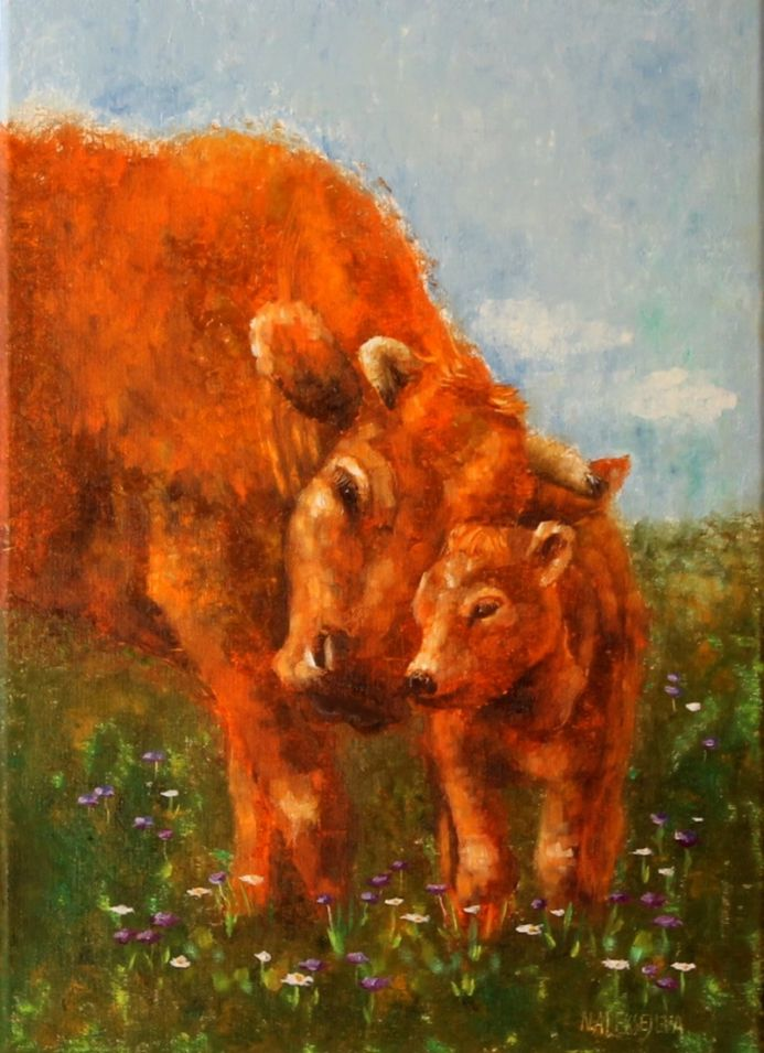 ''Mom's hug'' Red cows in the field