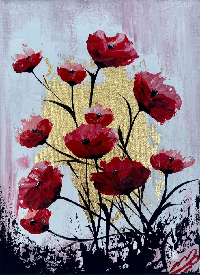 Red Poppies on Gold Leaf against a Pink Sky