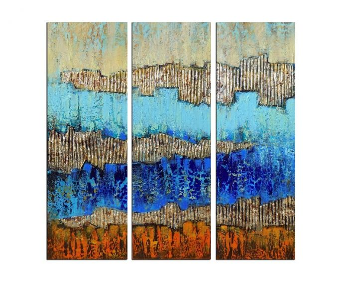 Abstract triptych, gold leaf painting