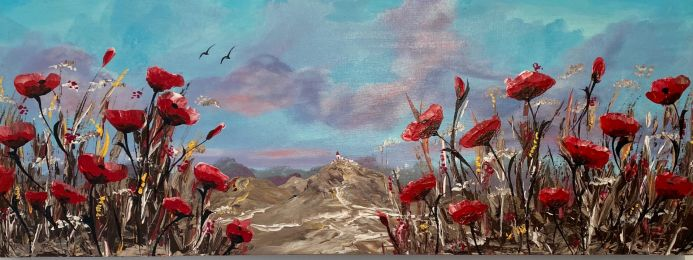Red Poppies under a Bright Blue Sky