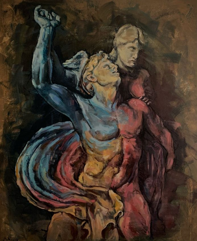Hermes male statue oil painting