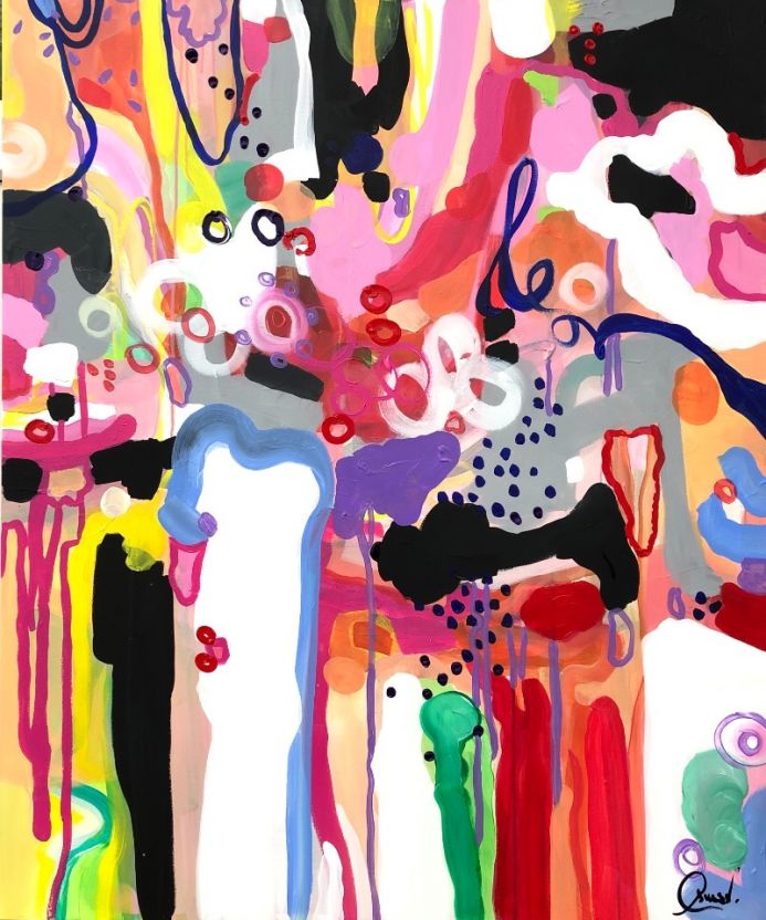 Once upon a time -  Extra large colourful abstract art
