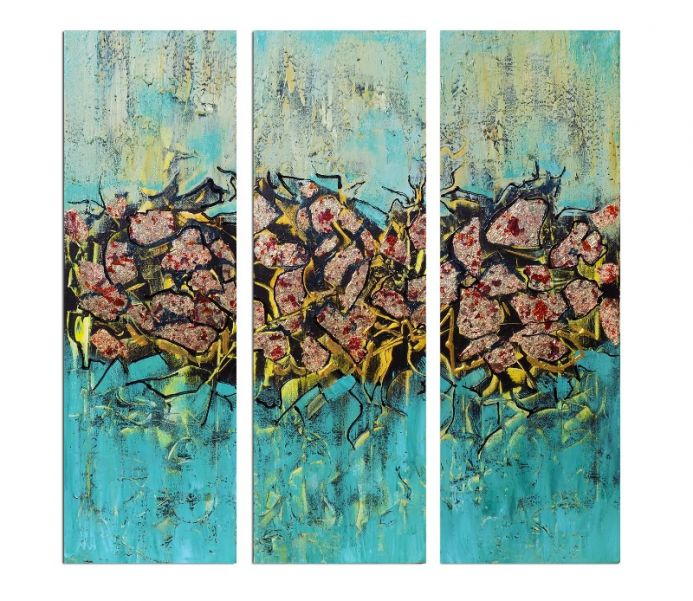 Illusions - Abstract triptych, gold leaf painting