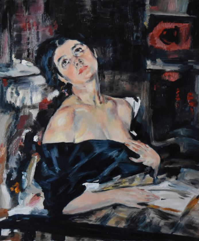 """Work of study: """"Lady in Black"""" by Nicolai Fechin"""