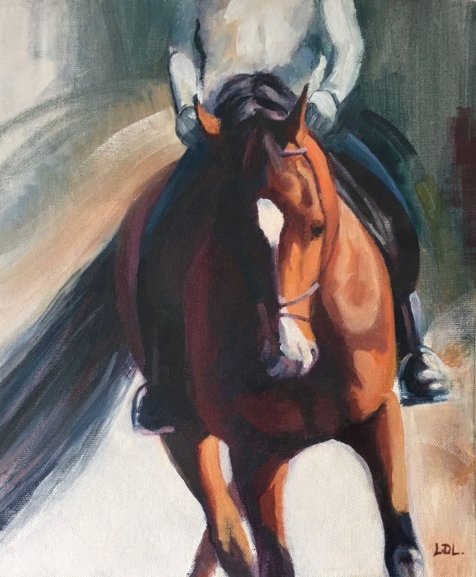Bay horse and rider in oils