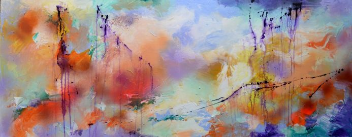Fresh Moods 13, Large Abstract Painting 59x23.6x0.8 inches