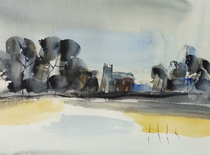 THE OLD CHAPEL, Ullenhall, Warwickshire. Original Watercolour Landscape.