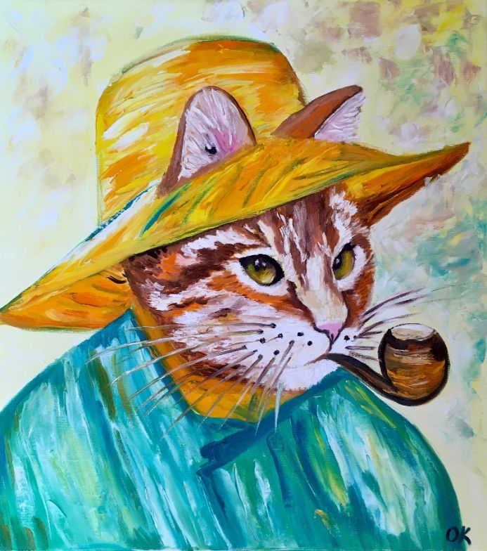 Cat with a pipe