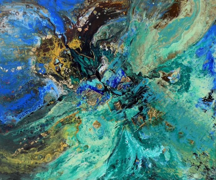 Extra large abstract painting art with gold leaf