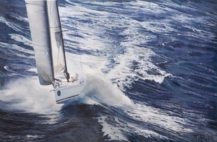 YACHT IN A GALE. 60 X 40 cm