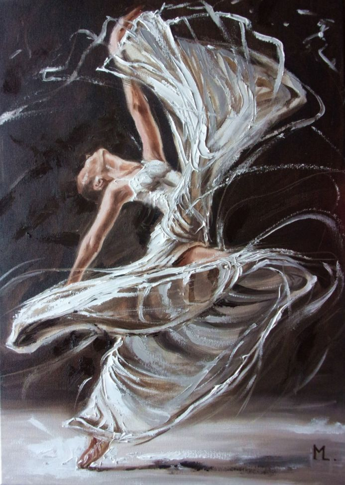 """ DECEMBER CANDLE ... ""- ballerina liGHt ballet ORIGINAL OIL PAINTING, GIFT, PALETTE KNIFE (2019)"