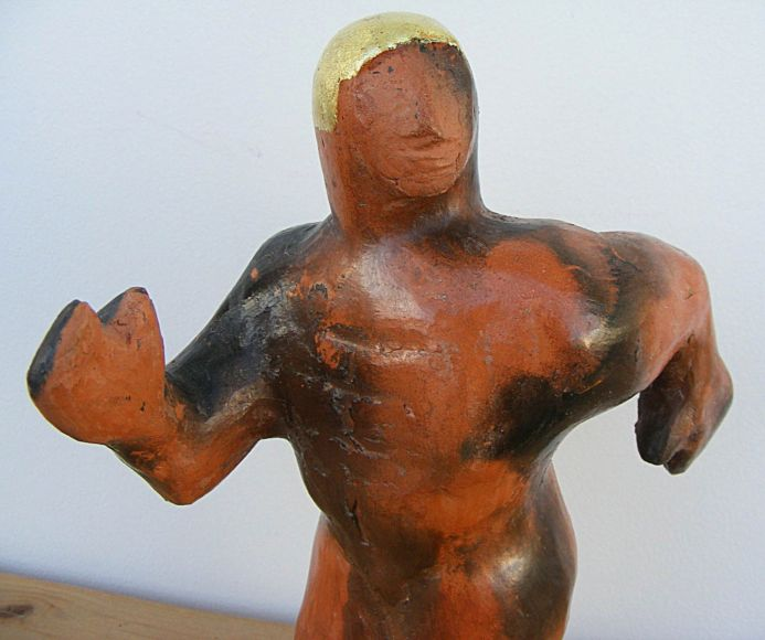 Olympian (Burnished & Smoked Terracotta) - Ceramic Sculpture