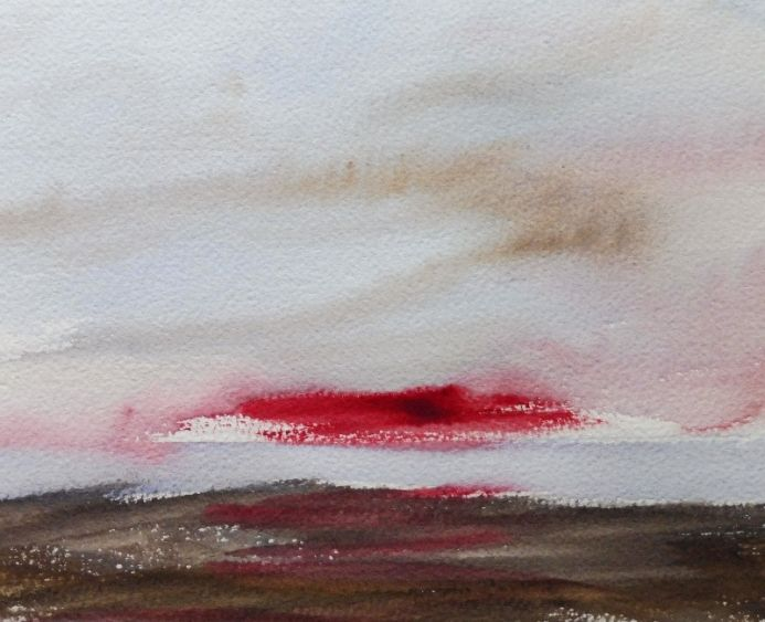 SUNRISE MOORS towards RHOSNEIGR, ANGLESEY. Small Original Seascape Watercolour Painting.