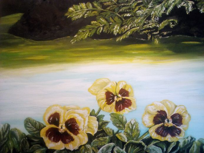 Pansies By The Woodland Pond
