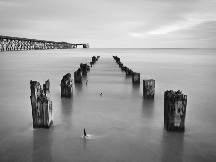 Steetley Point - Seascape, Pier, misty, Black and White