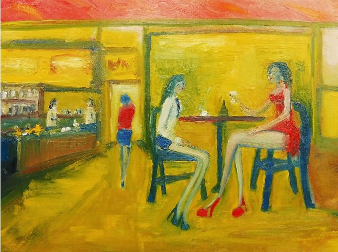GIRLS COFFEE and WINE, RED DRESS. Original Figurative Oil Painting. Varnished.