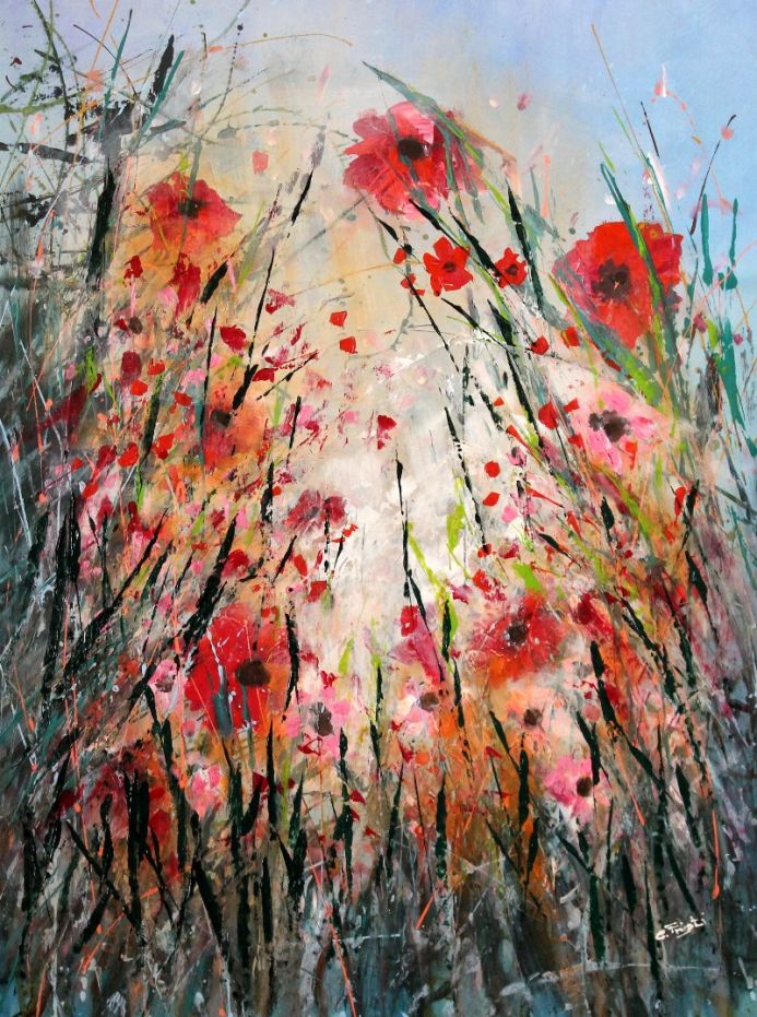 The Hide - Large original floral painting