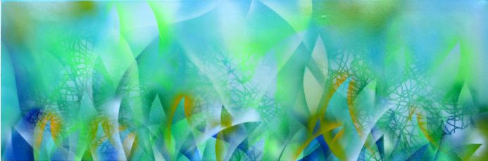 Foaming Fairy - Absinthe Cocktail - FREE SHIPPING - 47.3x15.8 inches - Large Ready to Hang Colorful Abstract Painting - Modern Abstract Painting - Ready to Hang, Hotel, Office or Restaurant Wall Decor