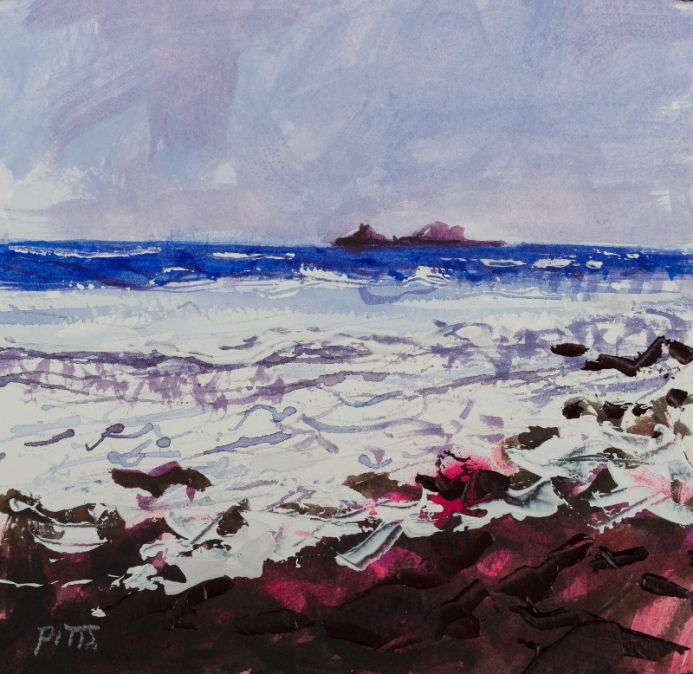 Plein air art made with the storm clouds gathering, mixed media acrylic painting. The Brisons, hazy sky, an original painting of cornwall  by Jonathan Pitts. From my 'Paintings of Cornwall' series. Cornish art, expressive painting, painting dramatic clou