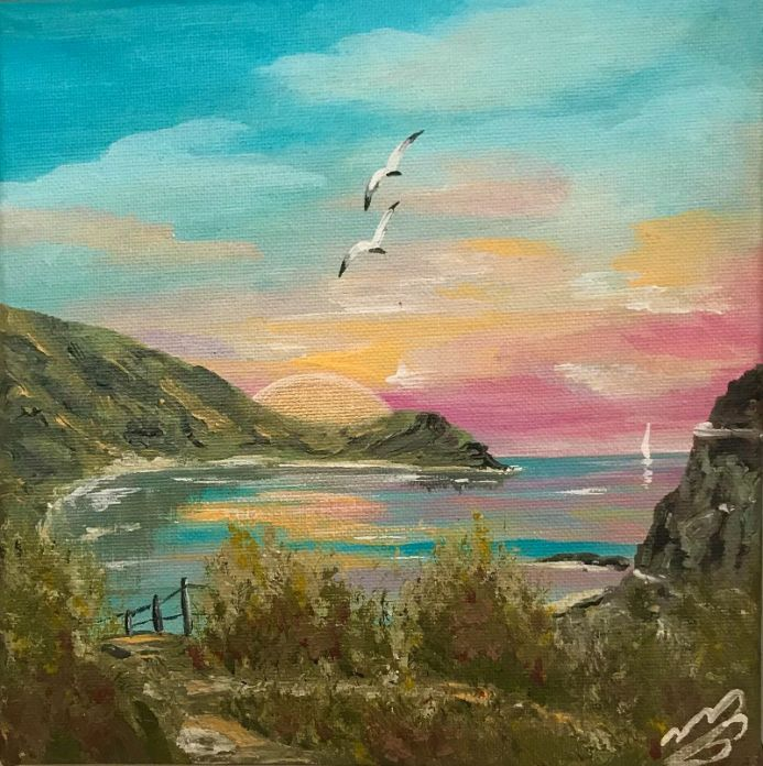 Lulworth Cove with a Pink Sunrise