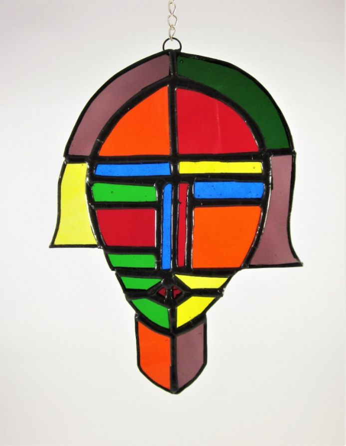 Abstract Face Stained Glass Tiffany Art Suncatcher Window Decoration