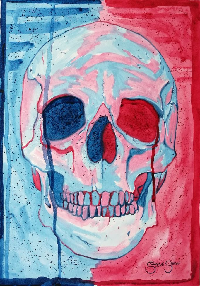 Bright and Boney. Watercolour Skull painting on paper. 29.7cm x 42cm. Free Worldwide Shipping.