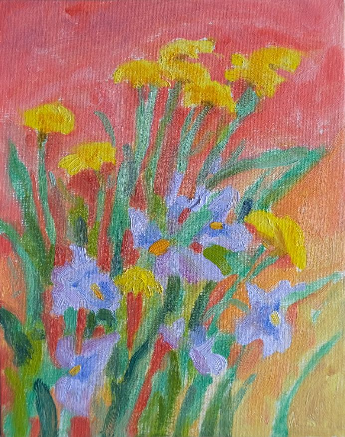 Dandelions and Violets (original oil painting)