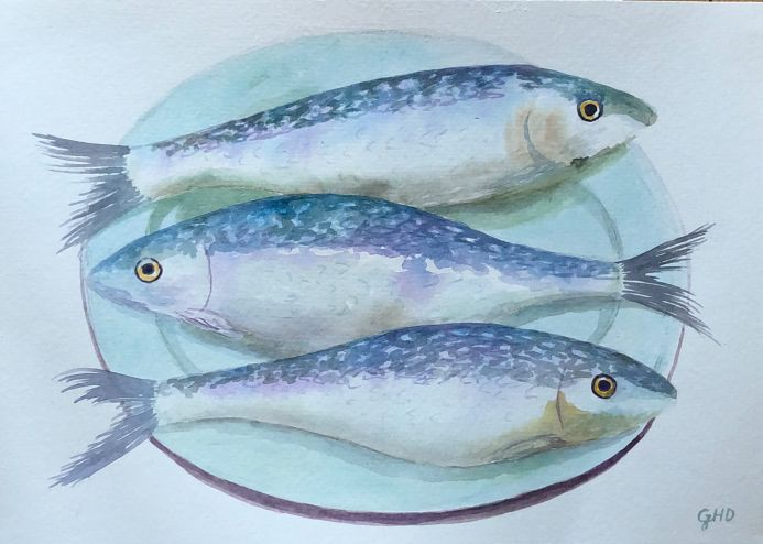 THREE FISH ON A PLATE