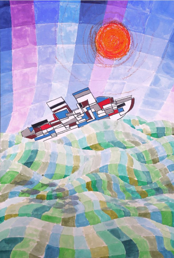 Mixed media using: watercolour, drawing ink, gouache, wax crayon and collage creating a brightly coloured depiction of a multi-coloured ship happily steaming to oblivion.