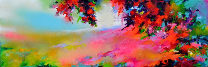 New Horizon 127 - 120x40 cm, Colourful Painting, Colourful Sunset Painting, Impressionistic Colorful Painting, Large Modern Ready to Hang Abstract Landscape Painting
