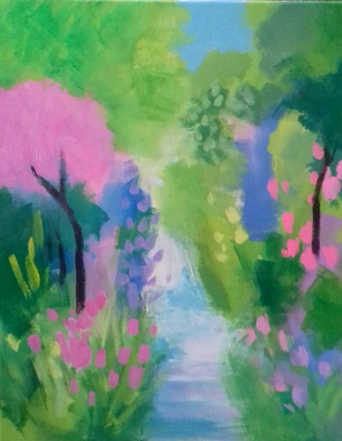 A Summer Path with Blossom Trees