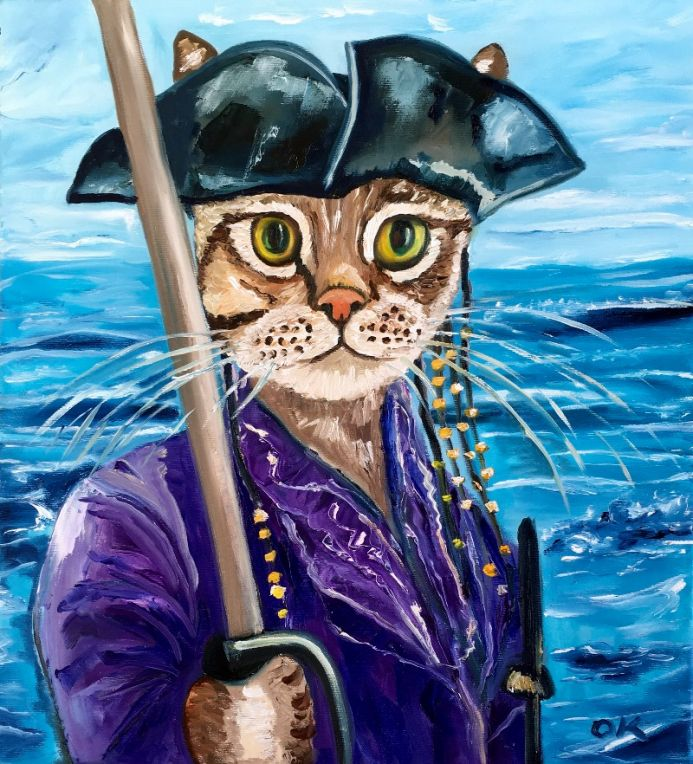 Cat Named Troy as a Pirate of The Caribbean, original Oil Painting on canvas