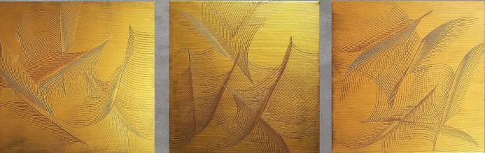 Fly free No. 5 - triptych golden and black abstract