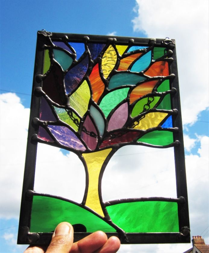 Stained Glass Tree Of Life Contemporary Handmade Window Panel