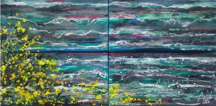 Breaking Waves and Yellow Blossoms - Large Painting on two Panels (Diptych)
