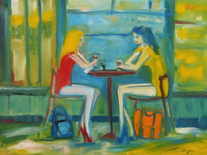 PRETTY FEMALE FASHION MODELS, RED WINE, RESTAURANT, Red Yellow Dresses. Original Female Figurative Oil Painting. Varnished.