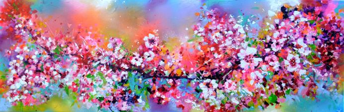 120x40x2cm, Colorful Blossom, Impresionistic Colorful Painting, Large Floral Textured Palette Knife Painting