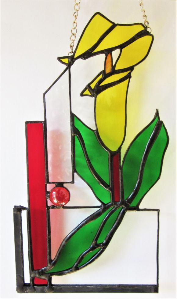 Lilies Of The Field Stained Glass Art Deco Handmade Contemporary Window Suncatcher