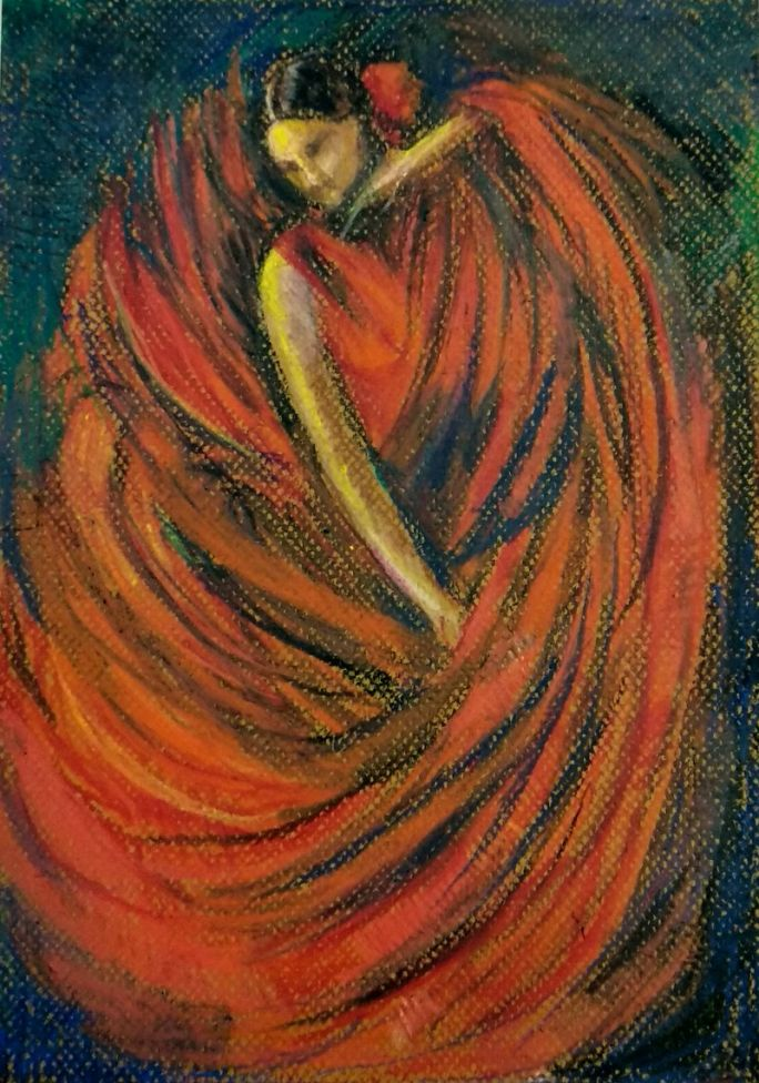 The Flamenco Dancer in Red Oil Pastel drawing