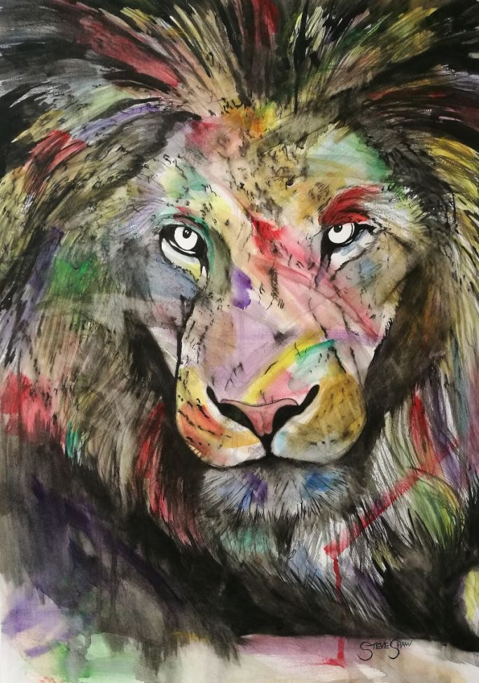 The Colourful King. Watercolour Lion painting on paper. 42cm x 59cm.