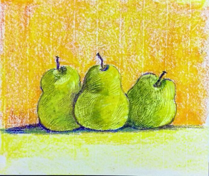 Three pears oil pastel drawing