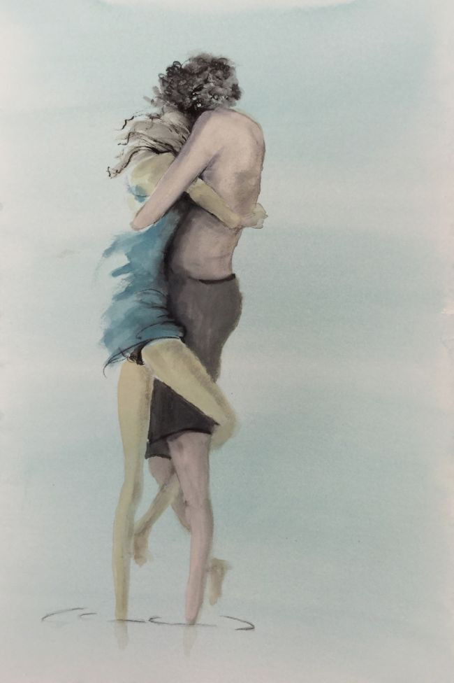 Couple in sea embracing