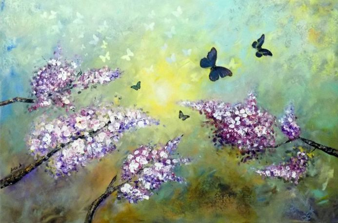 Spring landscape, large landscape flowers and butterflies.