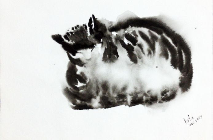 Sleeping Cat painting Black and white Cat  - Sumie ink painting on paper